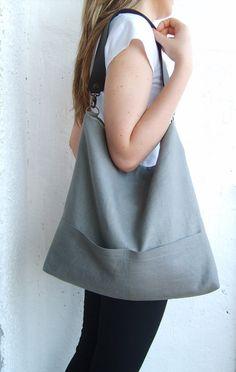Linen tote bag Hobo tote bag natural linen color bag by allbyFEDI