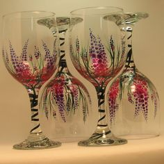 Items similar to Hand Painted Lupine Wine Glasses / 4 on Etsy Wine Glass Crafts, Wine Craft, Wine Bottle Crafts, Decorated Wine Glasses, Hand Painted Wine Glasses, Bottle Painting, Bottle Art, Wine Bottle Glasses, Wine Bottles