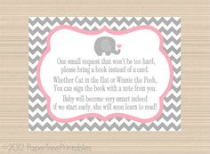 Elephant Digital Book Request Invitation Insert, Grey And Pink Chevron Baby  Shower On Etsy,