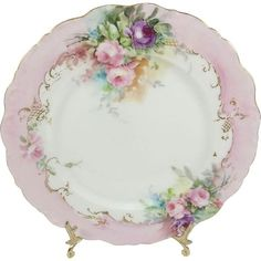 Limoges Plate Hand Painted Pink Tea Roses Signed Dated 1904 This gorgeous, Limoges plate featuring elegant, Victorian bouquets filled with light and Antique Dishes, Antique Plates, Vintage Plates, Antique China, Vintage China, Vintage Tea, Decorative Plates, Porcelain Jewelry, Porcelain Ceramics