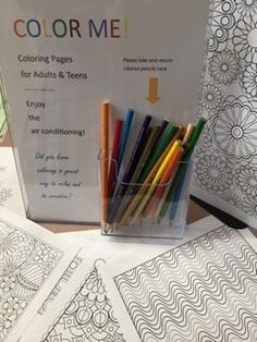 This pin caught my attention because I love coloring as a de-stressing exercise. I wonder if it could be helpful for patrons to unwind and relax. Adult Coloring pages to enjoy in the library at the Plainville Public Library Library Games, Library Week, Teen Library, Library Activities, Library Lessons, Library Boards, Library Skills, School Library Displays, Middle School Libraries