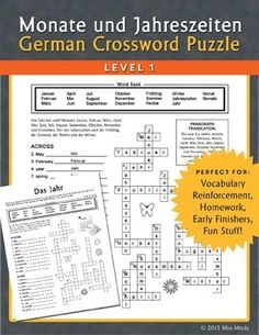 "This German language Months and Seasons Crossword Puzzle helps students practice German vocabulary for the year including the four seasons and the twelve individual months. A small paragraph in German about the seasons and months is included for reading aloud or translation.Using a Word Bank which contains all the German vocabulary on the sheet as a guide, students write the German equivalent to English words to work out the ""clues"" for the crossword puzzle."
