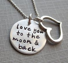 Love you to the moon and back necklace - Sterling Silver necklace with a Heart charm - Keepsake. $44.00, via Etsy.