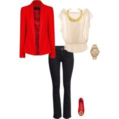 upscale/casual holiday party outfit with pops of red