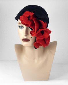 Felted Hat Cloche hat Flapper Hat Designer Hat Black by filcant, $199.00