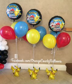 Pikachu Pokémon balloon decor. Pokémon centerpieces. www.facebook.com/OrangeCountyBalloons 1st Birthday Party Themes, 1st Birthday Girls, Birthday Balloons, Birthday Fun, Birthday Party Decorations, Pokemon Balloons, Pokemon Party Decorations, Pokemon Birthday Cake, Colorful Party