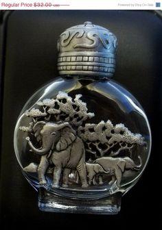 JJ Elephant Perfume Bottle Jonette vintage pewter by dollherup, $24.00 on sale