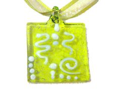 Green Glass Necklace with Swirly Pendant by BlissfulVine, $18.00   #etsy #shopping #handmade #ribbon #necklace #limegreen #modjewelry #sale #gifts #presents