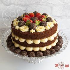 Birthday Cake Decorating, Cake Decorating Tips, Cute Cakes, Yummy Cakes, Nake Cake, Bolos Naked Cake, Cake Recipes, Dessert Recipes, Number Cakes