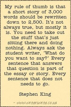short story essay topics Stephen King On Writing Short Stories - Writers Write - good words . Book Writing Tips, Creative Writing Prompts, Writing Words, Fiction Writing, Writing Quotes, Writing Resources, Teaching Writing, Writing Skills, Writing Lab
