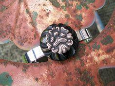 vintage button bracelet jewelry cuff black by Suddendeersighting, $44.00