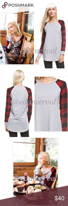 LISTING! NWT Buffalo Plaid Long Sleeve Tunic Top NWT Buffalo Plaid Long Sleeved Tunic Top. Such an adorable top! Baseball tee design, with a heather gray base and plaid sleeves. French terry style knit. Rounded neckline and a longer length for coverage. Fits true to size, available in Small (0-4), Medium (6-8), Large (10-12). Fabric is polyester/rayon/spandex blend. PRICE IS FIRM, but can discount in a bundle. Tops Tunics