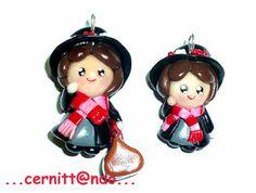 Mary Poppins polymer clay pendants by cernittando
