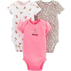Child Of Mine By Carter's Newborn Baby Girl Bodysuits, 3-Pack, Size: Preemie, Pink