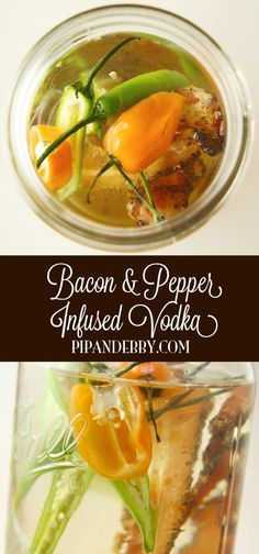 Bacon and Pepper Infused Vodka - After two days of infusion, this bacony-peppery vodka is the PERFECT addition to a bloody mary!   #infusedvodka #baconfestchi #cocktails #vodka #mixology