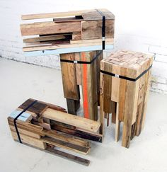 Eclectic Wooden Stools Made From Recycled Timber