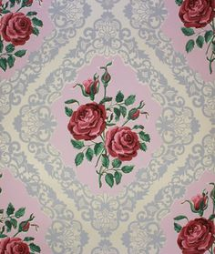 1950's Vintage Wallpaper Pink Roses with Lace by RosiesWallpaper