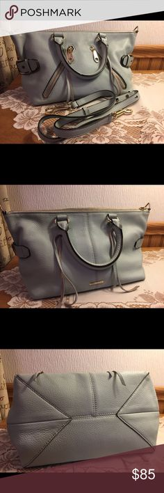 Rebecca Minkoff Moto Satchel Pebble leather in the color bleach blue. Excellent shape. Very roomy. Detachable strap is included. No cuts stains or odors. No trades. Bottom measures 11 x 7 x 7.  14 across the top. Bags Satchels