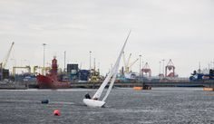 Dingy in sail race Liffey