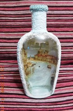 "Decoupage to back of bottle and paint to leave ""window"" Glass Bottle Crafts, Wine Bottle Art, Painted Wine Bottles, Diy Bottle, Bottles And Jars, Glass Bottles, Diy Xmas, Decoupage Glass, Decorated Wine Glasses"