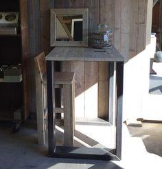 Hoge tafel industrieel hout/ijzer op maat gemaakt hillshome