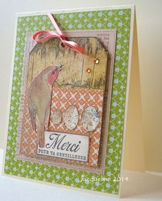 Hand made Spring collage type card with a tag