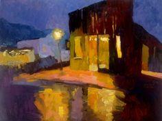 "Larisa Aukon at Mirada Fine Art, Western Night (Breckenridge, CO), Original Oil on Linen, 18"" x 24"""