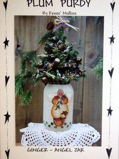 Plum Purdy Ginger-Angel Jar Uncut Painted Jar Pattern By Renee Mullins 2000
