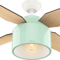 Hunter Fan Cranbrook Collection 52-inch Mint/Tan Metal/Plastic Ceiling Fan. *gold leaf the inside*
