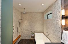 Fiorella Design - white pebble bathroom walls