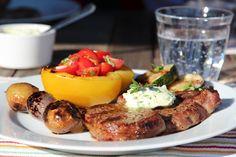 GRILLET KALVEENTRECÔTE MED PERSILLESMØR OG GRILLEDE GRØNNSAKER | TRINES MATBLOGG French Toast, Food Porn, Breakfast, Breakfast Cafe
