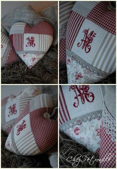Yes, it's in French, but the pictures are great. Soft Heart, Lace Heart, Cross Stitch Love, Cross Stitch Patterns, Machine Quilting, Machine Embroidery, Patchwork Heart, Coin Couture, Knitted Heart