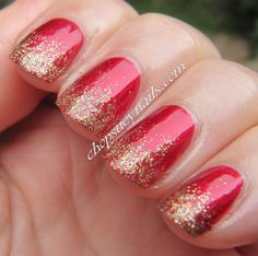 Xmas Mani - Gold and Red Glitter Gradient for Christmas