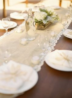jute/burlap table runner with lace trim.