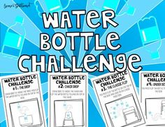 Stop flipping out about students flipping water bottles inclass. Instead join in and use it to motivate them. This Water Bottle Flip Game comes in two formats, printable half sheets and Power Point. It includes 12 Water Bottle Challenges using items in your classroom, chairs, desks and water bottles (1/3 full).