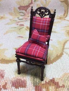 Bespaq Chair Seat in Plaid with Pillow 1:12 Dollhouse Miniature