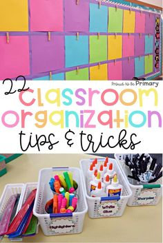 22 organization tips and tricks for the classroom that will help teachers get organized and set-up their classroom! Tons of back to school tips to organize teaching materials, student work, books, and math supplies. Don't miss the FREE student labels! Preschool Classroom Setup, Primary Classroom, Future Classroom, Year 3 Classroom Ideas, Teacher Classroom Supplies, Kindergarten Classroom Organization, Teaching Supplies, Classroom Setting, Classroom Inspiration
