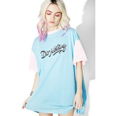 Lazy Oaf Do Nothing Tee ($60) ❤ liked on Polyvore featuring tops, t-shirts, oversized t shirt, sleeve t shirt, blue tee, oversized tees and over sized t shirt