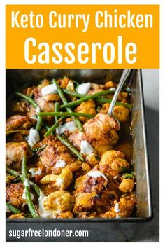 This Keto chicken curry is super tasty and really easy to make. You simply bake the chicken thighs in a casserole dish in the oven – that way they get nice and crispy whilst soaking up all the lovely curry flavours. #chickencurry #currycasserole #ketocasserole #ketochickencasserole Low Carb Dinner Recipes, Keto Dinner, Lunch Recipes, Healthy Recipes, Sweets Recipes, Free Recipes, Chicken Wing Recipes, Keto Chicken, Chicken Curry