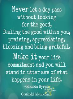 Look for the good, feel the good within, praise, appreciate, bless, be grateful.  Stand in awe.  Visit us at: www.GratitudeHabitat.com