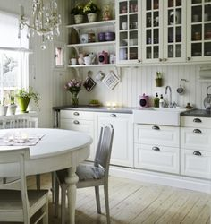 Kitchen in Sweden- white cabinets, apron front sink