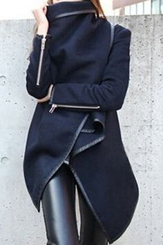 Long Sleeves Solid Color Asymmetric Stylish Wool Coat For Women