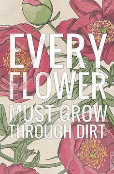 Every Flower Must Grow Through Dirt- Beautifully textured cotton canvas art print