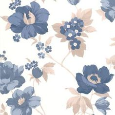 Eden Blue Floral Wallpaper - Blue Flower Wall Coverings by Graham Brown Blue Floral Wallpaper, Accent Wallpaper, Textured Wallpaper, Flower Wallpaper, Bedroom Wallpaper, Cheap Wallpaper, Wallpaper Samples, B 17, Phone Backgrounds