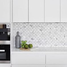 Carrera Marble Fan Shaped Fish Scale Tile Backsplash, Modern, Kitchen