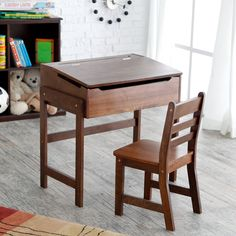 Schoolhouse Desk and Chair Set - Walnut - Preschool Desks at Childrens Desks
