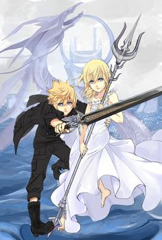 "anyaw99: "" Final Fantasy XV x Kingdom Hearts fanart cross-over Roxas as Noctis Namine as Lunafreya By : @yuurikh Source : https://mobile.twitter.com/yuurikh/status/840537380641632263 """