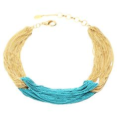 Gathered gold and turquoise-hued chain links make this chic necklace a bright addition to your favorite ensembles.  http://www.jossandmain.com/invite/iristy