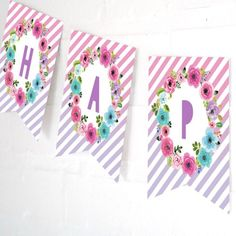 Floral party banner from a Pastel Unicorn Birthday Party on Kara's Party Ideas | KarasPartyIdeas.com (14)