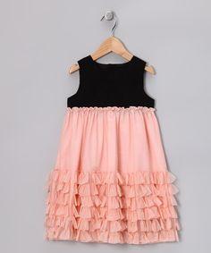 Black & Peach Ruffle Dotiron Dress - Infant, Toddler & Girls #fall #zulily